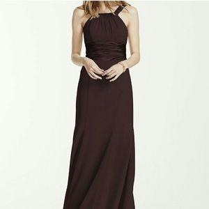 {David's Bridal} Chiffon Long Dress Jewel Neckline